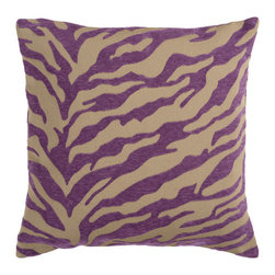 Surya Rugs - Safari Tan and Dark Plum 22 x 22 Pillow - Zebra print is always in style. This fun design brings character to your room. Colors of purple and beige accent this decorative pillow. This pillow contains a poly fill and a zipper closure. Add this 22 x 22 pillow to your collection today.  - Includes one poly-fiber filled insert and one pillow cover.   - Pillow cover material: 65% Acrylic, 35% Polyester Surya Rugs - JS031-2222P