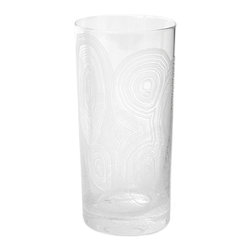 Kathy Kuo Home - Tree Rings Hollywood Regency White Tall Highball Glasses - Set of 6 - Stylish striations create an intriguing pattern, covering the classic shape of this crystal clear highball glass. Reminiscent of organic tree rings, denoting the passage of time, the white details on this set of six glasses will bring elegance and ambiance, year after year.