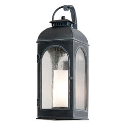 Troy Lighting - Troy Lighting Derby Transitional Outdoor Wall Sconce X-1823B - From the ball finial on the top to the antique ivory candle inside the lantern, the Troy Lighting Derby Transitional Outdoor Wall Sconce has great attention to detail from top to bottom. Clear glass panels lets the light from the candle form shine bright, greeting guests and family alike. A stylish outdoor wall light fixture sure to please.