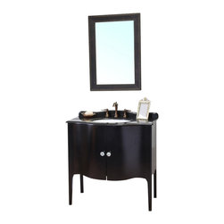 Bellaterra Home - Single-Sink Wood Vanity, Black - Constructed of solid wood, this traditional bathroom vanity is an exquisite design. Curved cabinet front and door panels with rich black finish brings luxurious look. Crystal door knob adds glamorous look to any bathroom. Vanity dimension: 36.6 W x 22 D x 36 H
