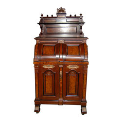"""Wooton Desk Company - Consigned Wooton """"Ladies Model"""" Renaissance Style Patent Secretary Desk - Height: 74 in. (187.96 cm)"""