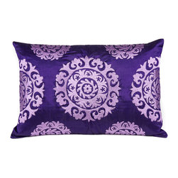 """Silk Suzani Lumbar Pillow, Royal Purple - The kaleidoscopic Suzani Pillow is a beautiful addition to any living space. Suzani in Persian means """"needle work"""" and the silk based rectangular Suzani features intricate silk embroidery."""