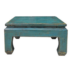 """Golden Lotus - Square Rustic Blue Lacquer Coffee Table - Dimensions:  w32.5""""x  d32.5""""x  h18"""""""