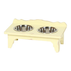"""Small """"Shabby Chic"""" Pet Feeder - From cottage to castle, shabby chic distressed furniture creates a casual, yet comfortably elegant home. We expect you to be dazzled by the color palette and the intricate woodwork of this adorable Shabby Chic pet diner. Created of solid Mango hardwood each unique piece is carefully distressed by using a multi-step finishing process to achieve the look of an aged antique."""