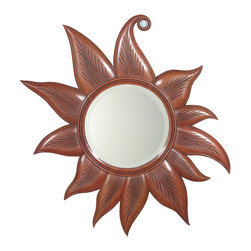 MBW Furniture - 40in Solid Mahogany Carved Sun Wall Hanging Round Mirror - Kiln dried solid mahogany construction