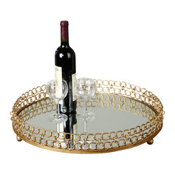Uttermost - Uttermost Dipali Mirrored Tray - Dipali Mirrored Tray by Uttermost Made Of Gold Leaf Metal With A Mirror Base.