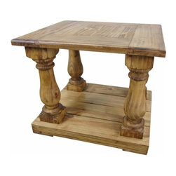 Large Rustic Pine End Table - This huge end table goes great with the full set! This thing is massive and would look great in an extremely large ranch house or lodge in the mountains. Solid wood and Very sturdy. Extra shipping will no doubt accompany This huge piece.
