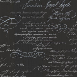 Brewster Home Fashions - Ferdinand Black Poetic Script Wallpaper Bolt - With perfect penmanship this modern wall paper design brings a lovely poetic script to walls in a dashing palette of black grey and blue.