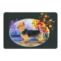 Caroline's Treasures - Australian Terrier Kitchen or Bath Mat 20 x 30 - Kitchen or Bath Comfort Floor Mat This mat is 20 inch by 30 inch. Comfort Mat / Carpet / Rug that is Made and Printed in the USA. A foam cushion is attached to the bottom of the mat for comfort when standing. The mat has been permanently dyed for moderate traffic. Durable and fade resistant. The back of the mat is rubber backed to keep the mat from slipping on a smooth floor. Use pressure and water from garden hose or power washer to clean the mat. Vacuuming only with the hard wood floor setting, as to not pull up the knap of the felt. Avoid soap or cleaner that produces suds when cleaning. It will be difficult to get the suds out of the mat.