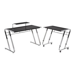 ORE International - 4.7 ft. Width Modern Computer Desk - This contemporary and stylish computer desk is designed to adapt to any room or space from the office to your home. With the additional storage tier on top making this desk convenience for a lamp, storage and practicality. The 4 wheels on the side desk made easily for mobility with secured and tight safety locks. The uniquely chrome finished frame is built with sturdy reinforcement compliments the dark finished composite wood and glass table top perfectly . 49 in. L x 26 in. W x 31 in. H (68 lbs.). 32 in. L x 23 in. W x 32 in. H