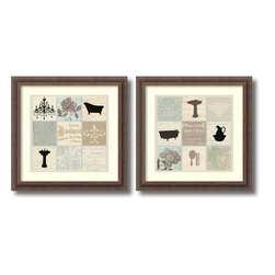 Amanti Art - Paula Scaletta 'Bath Collage- set of 2' Framed Art Print 18 x 18-inch Each - Complement your bathroom decor with the Bath Collage set, a charming pair of framed art print by Paula Scaletta.