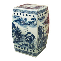 China Furniture and Arts - Blue and White Scenic Porcelain Garden Stool - This simple blue and white porcelain garden stool is graced with hand painted images of traditional Chinese scenic landscape.  Simple yet elegant, this porcelain stool offers sturdy seating and can also serve as a handy platform next to a chair or chaise outdoors.