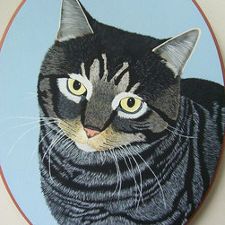 Custom Pet Portrait by Debbies Animal Plaques - I like the little bits of detail and the rounded plaque. It's a straight forward likeness of the animal, but I like the cameo effect the circular plaque gives.