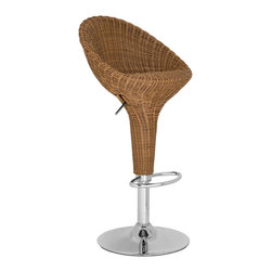 "Safavieh - Safavieh Nordika Barstool in Wicker Brown - With backbone and lots of character, the full support of the beautifully crafted Nordika Barstool makes it a modern masterpiece. Constructed with brown faux wicker and chrome, it's ideal for modern or traditional interiors in need of texture and warmth. Nordika's swivel seat adjusts from 23.2"" to 31.7"". What's included: Barstool (1)."