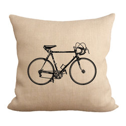 Fiber and Water - Vintage 1940's Racing Bicycle Pillow - The early years of cyclo-touring bicycles were some of the best ever made. This is a wonderful print for fellow cyclists. This hand-printed piece of art has beautiful texture from a combination of natural burlap and water-based paints. Hand-pressed onto natural burlap using water-based inks.