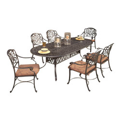 Home Styles - Home Styles Floral Blossom 7 Piece Dining Set in Charcoal - Home Styles - Dining Sets - 5558348 - By combining outdoor elements such as ceremonial and abstract floral designs, the Floral Blossom Dining Set by Home Style is brought to life.