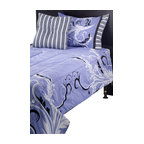 Rizzy Home - Filigree Periwinkle Twin Size Kids Comforter Bed Set - Go for glamour with this Laura Fair bedding set in purple and black.  Add extra sparkle to your child's room with the jewelry inspired prints that work together to create a look fit for a young fashionista.