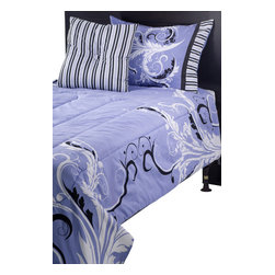 Rizzy Home - Filigree Periwinkle Full/Queen Size Kids Comforter Bed Set - Go for glamour with this Laura Fair bedding set in purple and black.  Add extra sparkle to your child's room with the jewelry inspired prints that work together to create a look fit for a young fashionista.