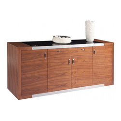 """White Line Imports - Franco Walnut Buffet - This highly functional Buffet from Franco collection features 3/8"""" black tempered glass top, and stainless steel stripes. The Franco Collection includes everything your dining room needs for a favorable atmosphere."""