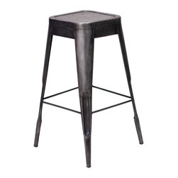 Felix | Tolix Style Bar Stool - Metallic Gunmetal - This classic cafe style bar stool originally designed by Xavier Pauchard in 1934 has been a staple in French bistros and trendy hotspots throughout the 20th century. The Felix is our spin on the classic Tolix� stool. Slight abrasions and variations are characteristic of the chair's industrial aesthetic. Our gunmetal stools or stools labeled as distressed are hand finished and antiqued to create a unique industrial look. Only galvanized finish is suitable for outside use. Available in an array of colors and finishes, mix and match to create a unique setting (some colors are available through special order only). Contact us for quantity orders.