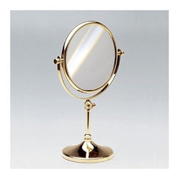 """Windisch by Nameeks - Stand Makeup Mirror - A beautiful free standing optical mirror made in high-quality brass and finished in chrome or gold. This makeup magnifying mirror from the Windisch Stand Mirrors collection is a contemporary-style magnified mirror. Features: -Makeup mirror. -Stand Mirrors collection. -Contemporary style. -Round shape. -Free standing. -Extendable. -Double Face. -5x Magnification. Specifications: -Overall Dimensions: 14.17"""" H - 16.14"""" H."""