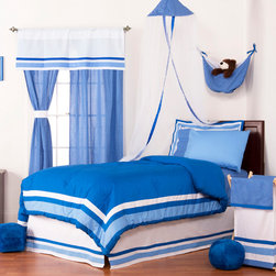 Simplicity Blue - Twin Set (3pc no sheets) - Let your personality come to life in a room filled with sophistication and style.  Simplicity Blue is nothing too simple for you!  Beautiful hues of blue with white throughout make the most of this set.  This 3pc set includes twin comforter, twin bed skirt, 1 standard flanged pillow sham.  Comforter comes a beautifully framed design in shades of dark blue, light blue and white.  Opposite side is in solid darker blue.  All in cotton print fabric.   Bed skirt designed with lines of white and both color blues in cotton print fabric. Standard flanged sham designed to replicate comforter in design.  All in cotton print fabric.  SAVE WHEN YOU BUY AS A SET!