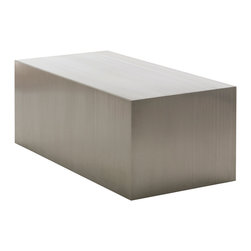 Nuevo Living - Tucson Coffee Table - You're a no-frills minimalist with a taste for simple elegance — and you just met your new coffee table. This brushed-finish stainless steel block makes a striking statement in your favorite modern setting.