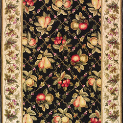 "Kas - Summer Fruits Black Ivory Colonial Floral 5'3"" x 8'3"" Kas Rug  by RugLots - Our Colonial Collection of hooked wool rugs exhibits the true creativity of our designers. Originally a craft born out of necessity, hooked rugs have now become a form of art, taking shape with the talent of designers and weavers. Made in China, our petit point hooked rug collection contains an assortment of styles that suit a wide range of tastes. Our Colonial rugs come in both classic and trendy designs, including florals and nauticals. The intricate design and myriad of colors add both a lively and rich look."