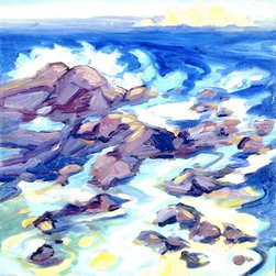 'Land's End' Giclée Print - The sea breeze might actually be miles away, but with this signed, limited-edition Lynne Friedman piece, you can almost smell the salt air. Waves crash against a smattering of rocks in the vivid scene, energized by generous brush strokes and a playful sensibility. If you long for the ocean, you'll delight in distinctive piece.