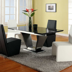 Extendable Rectangular Marble Leather Five Piece Modern Dining - Black lacquer table with marble extensions and leather chairs.  This chairs will bring charming beauty and style for your home decor. To make custom requests leave a note in the comments when checking out.