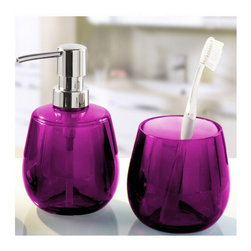 Unique Round Bathroom Accessories Set - 2 Pieces , Purple - Colorful round bathroom accessories set made from beautiful durable acrylic.  This 2 piece impact resistant contemporary round soap dispenser is unique, fun and very cool. Made in Germany. Tumbler (W) 3.5in x (H) 3.5in ; Dispenser (W) 3.5in x (H) 6.0in