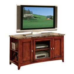"""ACMACM91000 - Finely Collection Cherry Finish Wood with Faux Brown Marble Top TV Stand - Finely collection cherry finish wood with faux brown marble top TV stand entertainment center with glass front center cabinet. Measures 48"""" x 20"""" x 27""""H. Some assembly required."""