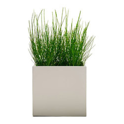 Modern Planter - Modern Cube Planter - Dove, Large - A slightly more low profile way to manage your growth rate. This unique planter is created with a smooth lip around the edge to give easy access and so you can remove overgrown plants without damaging the plant or root ball.