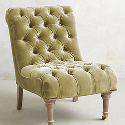 Orianna Chair, Chartreuse - This tufted velvet slipper chair is quite lovely. I would place it next to a round side table with an accent lamp.