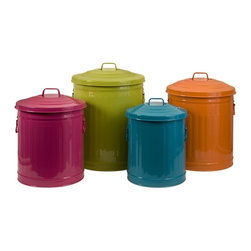 iMax - iMax Edison Brights Storage Cans Set of 4 - From our Vivid Collection, these bright and cheerful blue, orange, green and pink storage cans in graduated sizes are water tight with lids and handles for easy lifting