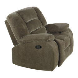 Coaster - Coaster Charlie Rocker Recliner Chair in Brown Sage Velvet - Coaster - Recliners - 600993 - When you're seeking comfort and a place to relax, no room is complete without a soft padded recliner. Featuring a casual style and a velvet upholstery, this family room rocker recliner works to provide relaxing comfort the whole day through. While pocket coil seating and high density foam provide a comfortable amount of cushioned padding, decorative channels and an attached chaise create unbroken comfort as well as back support. Pillow-topped arms and contemporary sides finish the piece with a casual style while the built-in mechanisms give homeowners the option to rock or recline. Pair this piece with its coordinating collection or use it as an accent to an existing furniture set.