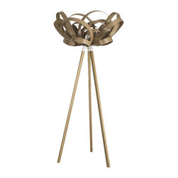 ecofirstart - Bloom Light/ Wooden Floor Stand - Pleasing petals constructed from sustainable bent wood make up the modern shade of this single-bulbed light. The symmetry of nature was the inspiration for this innovative, sculptural lighting piece. Bring that beauty indoors and let it light your home in a warm, ecofriendly glow.