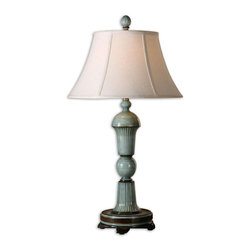 Uttermost - Attilio Antique Blue Table Lamp - Fluted Metal Finished In A High Gloss Antique Blue With Ivory Undertones And Burnished Bronze Details. The Round Bell Shade Is A Beige Linen Fabric With Natural Slubbing.