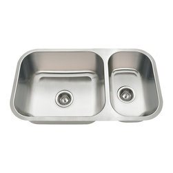 "MR Direct - MR Direct 3218B Offset Double Bowl Undermount Bowl Stainless Steel Sink - The 3218BL is part of our new line of economically-priced sinks. It is constructed from 18 gauge, 304 grade stainless steel and has reversible bowls available. The surface has a brushed satin finish to help mask small scratches that occur over time and will keep this sink looking beautiful for years. The overall dimensions of the 3218BL are 32 1/4"" x 18"" x 9"" (L) 7"" (R) and a 33"" minimum cabinet size is required. The 3218BL has the same outer dimensions and cutout size as the 3218A and 3218C and a cutout template is included with purchase. Also included with this sink is a 3 1/2"" offset drain, is fully insulated and comes with sound dampening pads. As always, our stainless steel sinks are covered under a limited lifetime warranty for as long as you own the sink."