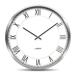 One45 Wall Clock - Stainless Steel, White Roman