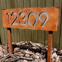 Address Plaques - Custom Modern House Numbers Horizontal Rusted Steel & Stainless Ground Stakes