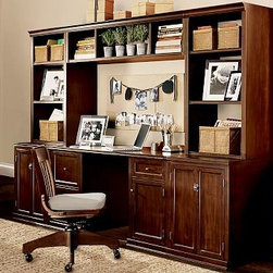 "Logan Medium Office Set (1 desk, 1 large bridge, 2 24"" bases with doors, 2 24"" h - Our Logan Collection has the look and feel of built-in cabinetry. Each piece of our Logan Office Suite is finished both inside and out. Our range of versatile pieces allows you to design your space for the ultimate in display and storage. Medium Office Suite: 110"" wide x 23.5"" deep x 75"" high Large Office Suite: 134"" wide x 23.5"" deep x 75"" high Desk has a spacious top that rests on one file cabinet and one CPU cabinet with an adjustable shelf. The base cabinets and open hutches each have one adjustable shelf. Wood swatches, below, are available for $25 each. We will provide a merchandise refund for wood swatches if they're returned within 30 days. Catalog / Internet Only. View our {{link path='pages/popups/fb-media.html' class='popup' width='480' height='300'}}Furniture Brochure{{/link}}."