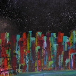 Stars & The City (Original) by Dania Olivares - I was raised in a small town. To continue my studies, I move to a big city in Mexico.  I missed so much my parents, my sister, my home, my dog, my friends. But I knew I had more opportunities living there, so many times I wished to have the best of both worlds. In a big city it's hard to see the night cover with stars, that's why this paint reflects a city and a starry night.