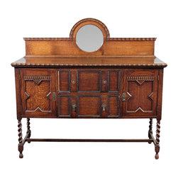Antiques - Antique Oak Jacobean Barley Twist Buffet Sideboard - Solid Oak