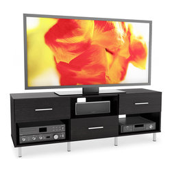 Sonax - Sonax Sedona Wood Ravenwood Black 60-inch 3-drawer Entertainment Center - This contemporary entertainment center is perfect for televisions between 50 and 68 inches. The entertainment center is made of ravenwood, so you can expect it to last for years. It is black and has satin-chrome pulls that increase its aesthetic value.