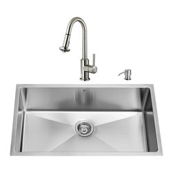 "VIGO Industries - VIGO All in One 32-inch Undermount Stainless Steel Kitchen Sink and Faucet Set - Add elegance and style to your kitchen with a VIGO All in One Kitchen Set featuring a 32"" Undermount kitchen sink, faucet, soap dispenser, matching bottom grid and sink strainer."