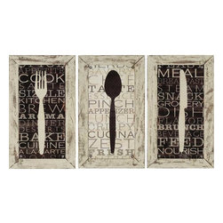 Paragon Decor - Kitchen Set of 3 Artwork - Kitchen utensils feature a hand painted distressed frame in cream.  Prints are textured and enhanced with decorative tacks.