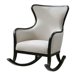 "Uttermost - Uttermost Sandy High Back Rocking Chair 23165 - Shimmering, sandy white woven tailoring with stain resistant fabric protector and brass nail accents. Exposed wood frame and rockers are solid white mahogany with reinforced joinery and hand applied, weathered black finish. Seat height is 19""."