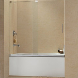 "DreamLine - DreamLine SHDR-1960582-04 Mirage Tub Door - DreamLine Mirage 56 to 60"" Frameless Sliding Tub Door, Clear 3/8"" Glass Door, Brushed Nickel Finish"