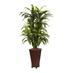 Marginatum with Decorative Planter - Ideal as an entryway accent, corner piece, or standing beside a bookshelf (or anything else, really), this Marginatum w/ Decorative Planter makes a definitive statement. Standing a full 57 in height with a literal fountain of cascading leaves, it simply cannot be missed. Complete with a handsome decorative planter, its perfect for both home and office decorating. Plus, it'll never need water, making it a true no-maintenance piece. Height= 57 In. x Width= 32 In. x Depth= 32 In.